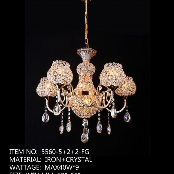5560-5+2+2-FG - 9 LED Crystal Lamp